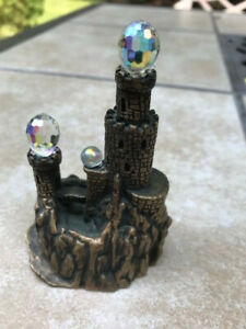 Vintage Pewter Brass Castle Figurine with Crystal Balls Circa 1980