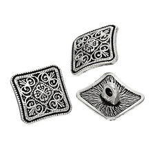 10 Square 13mm Metal Buttons Antique Silver Carved Design, Free UK Postage