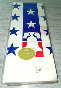 Vintage Sealed Hallmark Liberty Bell USA Party Crepe Paper Tablecloth Cover NOS
