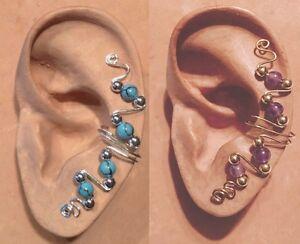 HANDMADE STERL SILV OR 14KGF WIRE WRAPPED EAR IVY FULL CUFF SEMI PRECIOUS BEADS