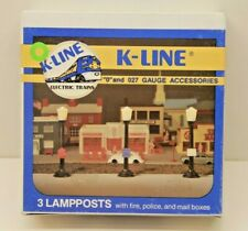 K-Line O/O27 Gauge 3 Lampposts w/ Fire, Police, and Mail Boxes New Old Stock  -m