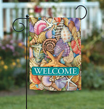Toland Shells of the Sea Welcome 12.5 x 18 Colorful Seashell Summer Garden Flag