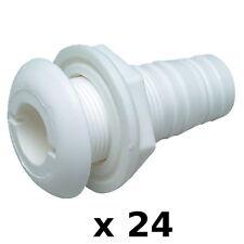 24 Pack 1-/18 Inch White Plastic Thru-Hull Bilge Pump and Aerator Hose Fittings