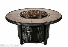 Dreffco Round Wicker Fire Pit Table Outdoor in Natural or Propane Gas