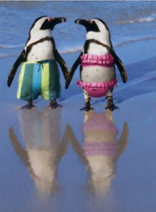 """""""Perfectly Suited! Happy Anniversary"""" AVANTI CARD Penguins on Beach"""