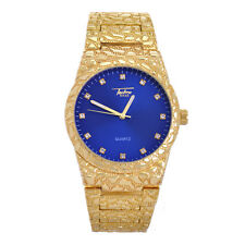 Men's Hip Hop Nugget Rapper Iced CZ Gold Plated Metal Band Watches WM 8364 GBL