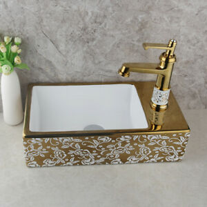 Gold Rectangle Ceramic Bathroom Vessel Sink Basin Bowl Mixer Sink Faucet Tap Set