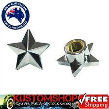 STAR VALVE CAPS, CHROME X2. HARLEY BOBBER CHOPPER HOTROD CRUISER ETC!