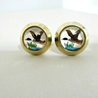 Vtg Duck Hand Painted Cuff Links Encased in Glass Mallards Gold Plated Hunting
