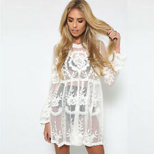 Womens See Through Lace Mini Ladies Holiday Dress Party Evening Cocktail Sexy