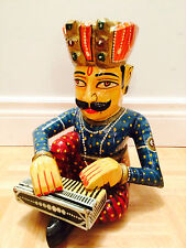 """12"""" - Hand Carved Wooden Decorative Multi-Colored Musician Playing Music Box"""