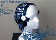 1800's Civil War Victorian Navy Blue Snood with Pearls Roses Hair Net Handmade