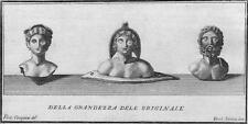 Antichità di Ercolano - Incisione su rame originale 1767 - Tre busti