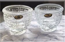 2 Nantucket Basket  Votive Tea Light Candle Holders DePlomb 24% Lead Crystal New