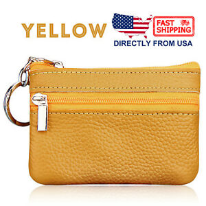 Women's Leather 2 Zipper Pockets Key Ring Coin Purse Mini Pouch Wallet