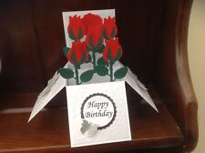 Beautiful handmade flower Rose pop up card use for birthday/ Mother's Day Etc