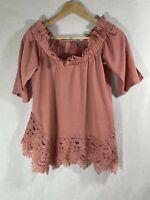 River Island ladies off shoulder blouse lace trim dusty pink size 8 short sleeve