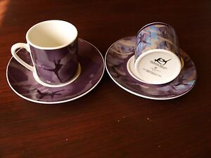 COALPORT ROYAL BALLET COFFEE CUP AND SAUCERS X 2.