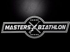 Biathlon Decal - MASTERS BIATHLON Parallelogram (White Text on Black Background)