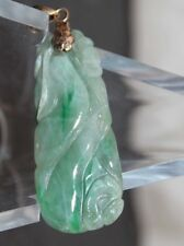 """Vintage Chinese 14K Solid Gold BALE JADE PENDANT 2"""" x .75"""