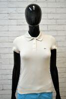 Polo LACOSTE Donna Size 36/XS Shirt Manica Corta Maglia Grigia T-Shirt Elastica
