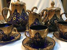 Stunning Antique MOSER Cobalt Blue Tea Set with ornate gold & jewels circa 1865