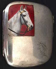 Antique Enamel Horse Cigarette Box France 1898 Sterling Silver 800 Monogrammed