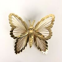 Vintage Monet Butterfly Brooch Pin Gold Tone Wire Work Wings