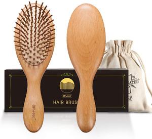 BFWood Wooden Handle Bamboo Bristles Hair Brush for Massaging Scalp - Big Handle
