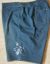 Catherines Denim Shorts 4X 30/32W Embroidery Floral leg NEW