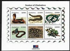 More details for zimbabwe 2005 snakes of zimbabwe minisheet superb mnh