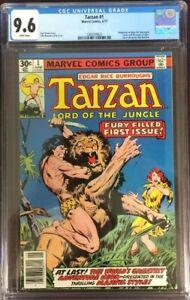 TARZAN #1  (MARVEL,1977) EDGAR RICE BURROUGHS,  WHITE PAGES  CGC 9.6