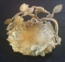 Vintage Detailed Brass Bird Nest Dish Basket w/ 2 Birds SPAIN
