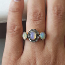 Opal Gemstone 925 Silver Wedding Anniversary Ring Diamond Pave 14K Gold Jewelry