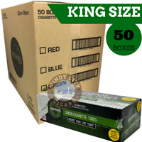50 Boxes Shargio Cigarette Tubes King Menthol Full Case Green - 10,000 Tubes RYO