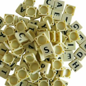 100 PLASTIC SCRABBLE TILES IVORY/BLACK LETTERS NUMBERS FOR CRAFTS GAME UK SELLER