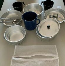 aluminium camping pan's handle dishes cups set nice Spoons Forks 14 piece Used