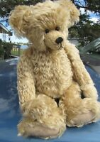 "VINTAGE TEDDY BEAR MOHAIR SWEET FACE ARTIST JOEY SHOESTRING RARE 18"" PUDGY TUMMY"