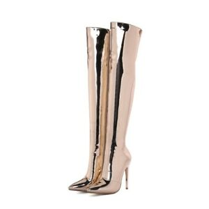 Ladies Stiletto High Heels Pointy Toe Over The Knee Thigh Boots Sexy Party Shoes
