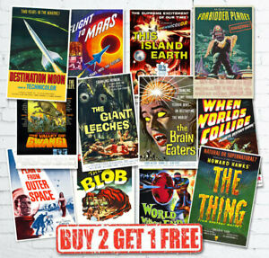 Vintage 1950's 40's Sci-Fi Space B Movie Monster Film Reproduction Retro Posters