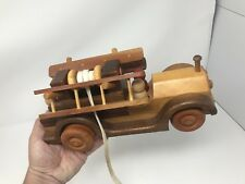 Vintage Handmade Wooden Toy Fire Truck by John West and Sons ToyMakers