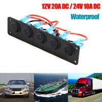 Waterproof 5 Gang LED Rocker Switch Panel 12V 20A 24V 10A for Car Boat Yacht