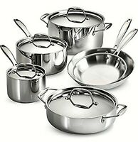 Tramontina 10-piece Stainless Steel Tri-ply Clad Cookware Pot and Pan Set