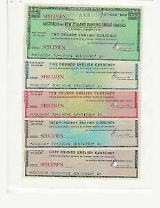 TRAVELERS CHECK  SPECIMENS  AUSTRALIA NEW ZEALAND BANK  1970 SET  UNC
