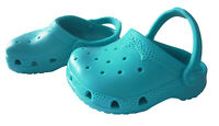 """Teal Blue Krocs Shoes for 18"""" American Girl & Bitty Baby Doll Clothes"""