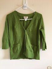 Talbots Woman Petites Sz X Cardigan Green Button Front 3/4 Sleeve Pockets #B