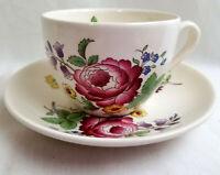 Tea Cup Saucer Vintage Spode England Porcelain China Pink Purple Floral