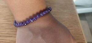 9 MM NATURAL AMETHYST  ROUND CUT SPHERE INTUITIVE INNOVATIVE BEADS BRACELET 9 GM