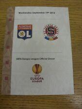 19/09/2012 Lyon v Sparta Praha [Europa Liga] oficial coincide con día menú [como problema