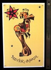 NEVER AGAIN Potbelly vintage Sailor Jerry Traditional style Flash poster print